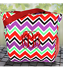 Red and Purple Chevron with Red Trim Oversized Tote #TB3015-170