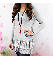 Dreamy Details Top, Heather Grey #TC1222-1 *Choose Your Size