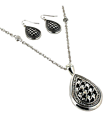 "18"" Crystal Accented Houndstooth Teardrop Pendant Necklace and Earring Set #AS4767-ASC"