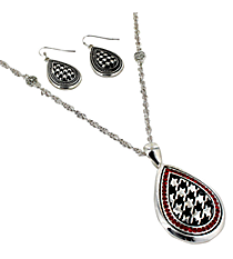 "18"" Red Crystal Accented Houndstooth Teardrop Pendant Necklace and Earring Set #AS4767-ASR"