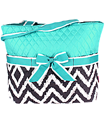 Gray Aztec Chevron Quilted Diaper Bag with Aqua Trim #TG2121-AQUA