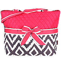 Gray Aztec Chevron Quilted Diaper Bag with Hot Pink Trim #TG2121-H/PINK