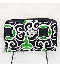 Navy and Green Celtic Swirl Quilted Organizer Clutch Wallet #THQ517-NAVY
