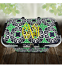 Navy and Green Celtic Swirl Collapsible Insulated Market Basket with Lid #THQ658-NAVY