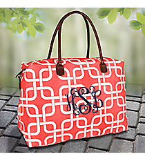Coral Overlapping Squares Shoulder Tote #TIM804-CORAL