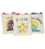 ONE DOZEN INSPIRATIONAL CANVAS TOTE BAGS #36/591