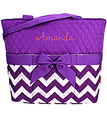 Purple Chevron Quilted Diaper Bag #ZIP2121-PURPLE
