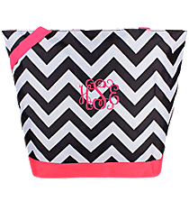 Market Shopping Tote in Black and Gray Chevron with Pink Trim #ST18-1324-P