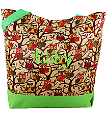 Market Shopping Tote in Vintage Owl with Green Trim #H18-501-G
