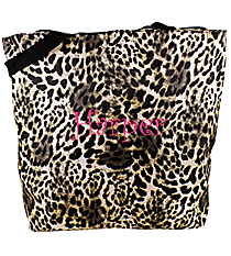Market Shopping Tote in Black Leopard #P18-504