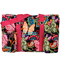 Butterfly in Town with Hot Pink Trim Utility Tote #BUF585-HPINK