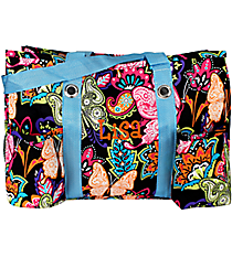 Butterfly in Town with Turquoise Trim Utility Tote #BUF585-TURQ