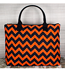 Navy and Orange Chevron Quilted Large Shoulder Tote #NRQ3907-NAVY/OR
