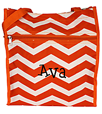 Orange and White Chevron Shopper Tote #PH3013-587-OR/W