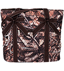 BNB Natural Camo Shoulder Tote with Brown Trim #SNQ550-BROWN