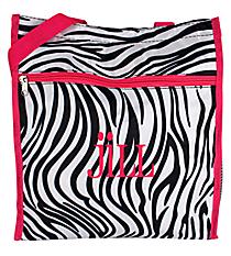 Zebra Print Shopper Tote with Pink Trim #ST13-2006-P