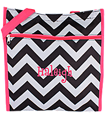 Black and Gray Chevron with Pink Trim Shopper Tote #ST13-1324-P