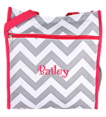 Gray and White Chevron with Pink Trim Shopper Tote #ST13-1325-P