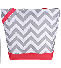 Market Shopping Tote in Gray and White Chevron with Pink Trim #ST18-1325-P