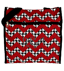 Houndstooth Chevron Shopper Tote with Black Trim