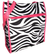 Zebra Shopper Tote with Pink Trim #PH3013-163-F
