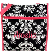 Black and White Vintage Damask with Fuchsia Trim Shopper Tote #PH3013-630-F