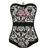 Damask with Black Trim Folding Lingerie Bag #CB60-2010