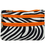 Zebra with Orange Trim Travel Pouch #CB2-2006-O