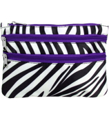 Zebra with Purple Trim Travel Pouch #CB2-2006-PU