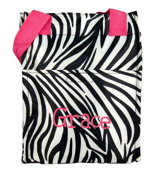 Zebra with Pink Trim Insulated Lunch Tote #LT11-2006-P
