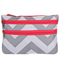 Gray and White Chevron with Pink Trim Travel Pouch #CB2-1325-P