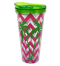 Chevron and Palm Trees 22oz. Double Wall Tumbler with Straw with Straw #F126254