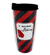 """I Miss Athens"" 22 oz. Double Wall Tumbler with Straw #F132913"