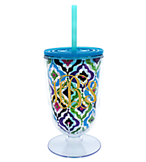 Watercolor Quatrefoil 18 oz. Double Wall Iced Tea Tumbler with Straw #F135850