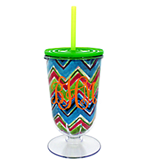 Watercolor Chevron 18 oz. Double Wall Iced Tea Tumbler with Straw #F135851