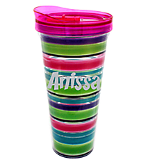 Watercolor Stripe 22 oz. Double Wall Tumbler with Straw #F135852