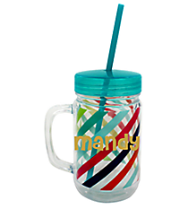 Multi-Stripe 22oz. Double Wall Mason Jar Tumbler with Straw #F135856