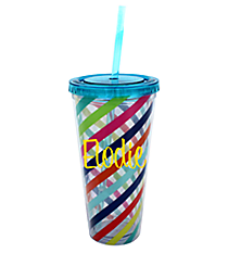 Multi Stripe 22 oz. Double Wall Tumbler with Straw #F135859