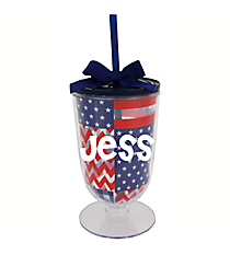 Patriotic 18 oz. Double Wall Iced Tea Tumbler with Straw #F132157