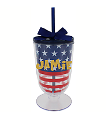 Stars and Stripes 18 oz. Double Wall Iced Tea Tumbler with Straw #F132158