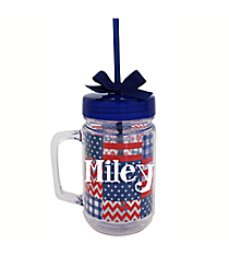 Patriotic 22oz Double Wall Mason Jar with Straw #F132163