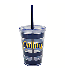 Kid's Navy Preppy Stripe 10 oz. Double Wall Tumbler with Straw #F133262
