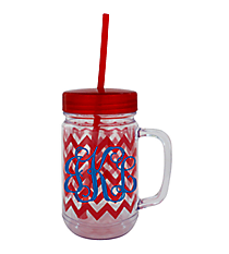 Red Chevron 22oz. Double Wall Mason Jar Tumbler with Straw #F133980