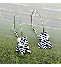 3D White and Blue Striped Tiger Hoop Earrings #UE5335-WHT/BL