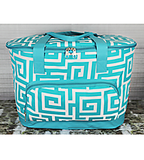 Aqua Greek Key Cooler Tote with Lid #UHA89-AQUA
