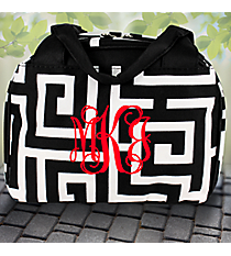 Black Greek Key Insulated Bowler Style Lunch Bag #UHB255-BLACK