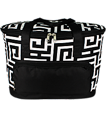 Black Greek Key Cooler Tote with Lid #UHB891-BLACK