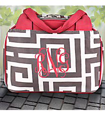 Gray Greek Key Insulated Bowler Style Lunch Bag #UHG255-GRAY