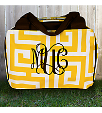 Yellow Greek Key Insulated Bowler Style Lunch Bag #UHY255-YELLOW