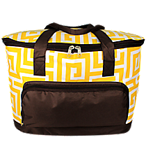 Yellow Greek Key Cooler Tote with Lid #UHY891-YELLOW